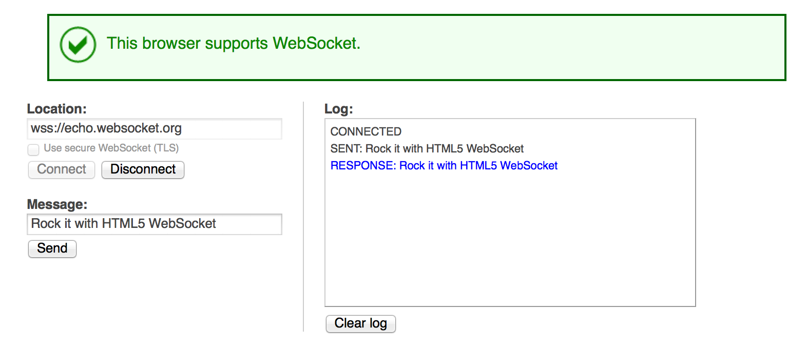 Websocket Test Page